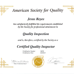 Certified Quality Inspector Certificate 3-2-2013